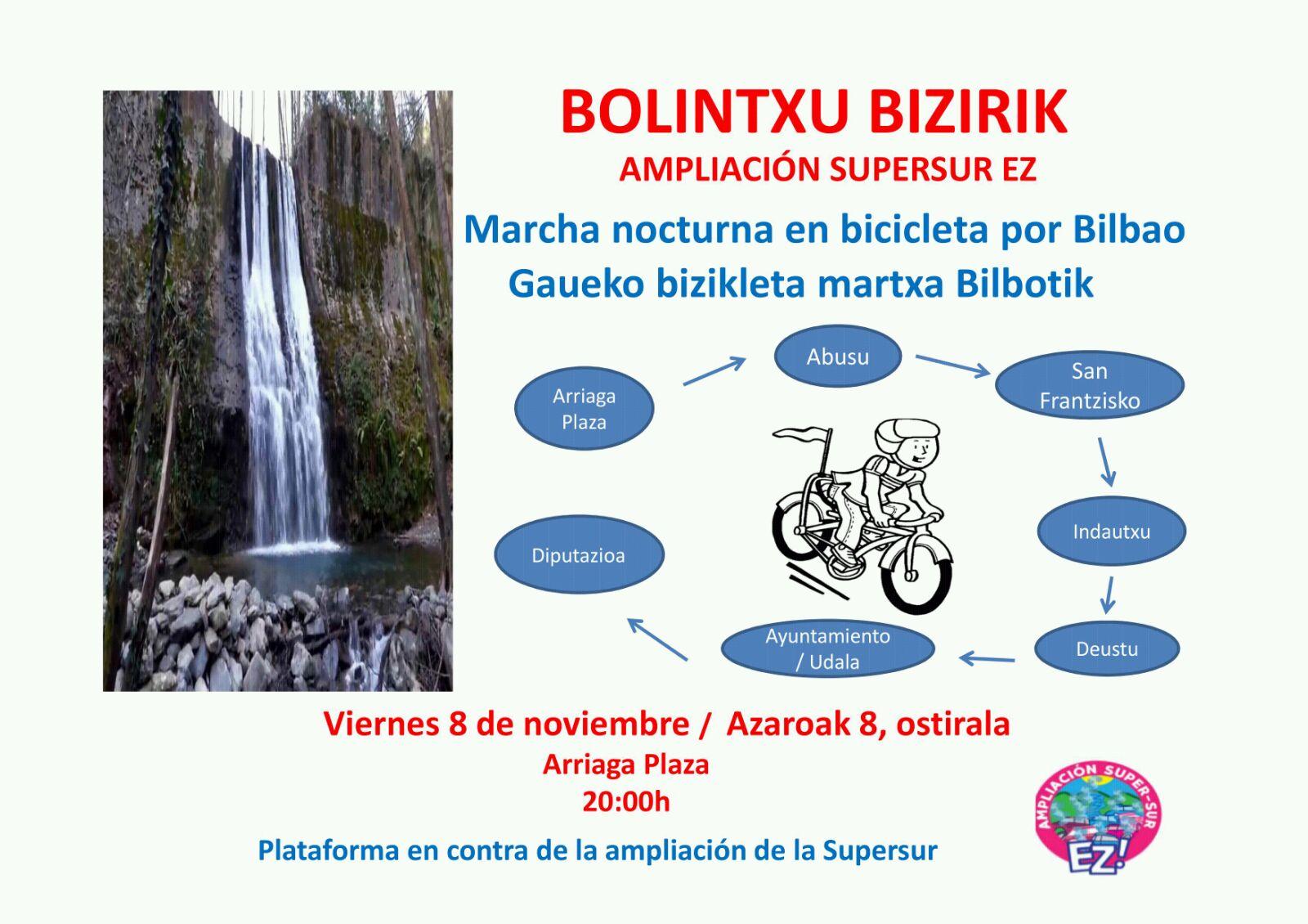 Marcha nocturna en Bicicleta por Bilbao