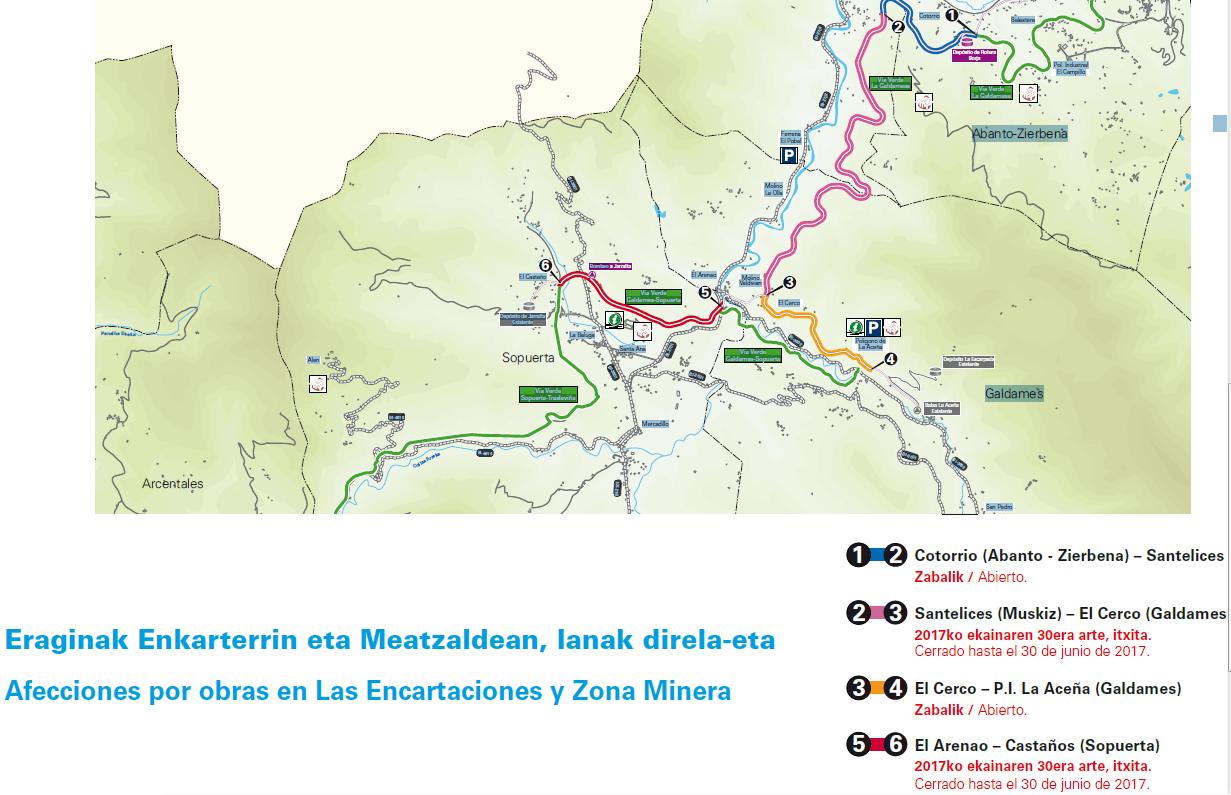 Via Verde de Montes de Hierro cortada hasta Julio